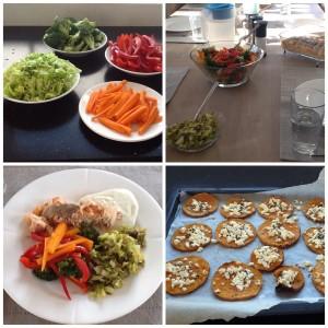Dagens retter. Broccoli, rødpeber, gulerod, spidskål. Samt laks og butternutsquash.