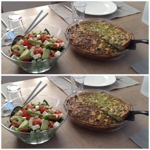 Kyllingetærte med spinat, pinjekerner, ricottaost og parmesan.