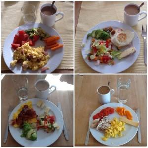 Morgenmad med æg, kød og grøntsager
