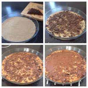 Melfri bund, hakket mørk chokolade, ind i ovnen til chokoladen er smeltet 👍