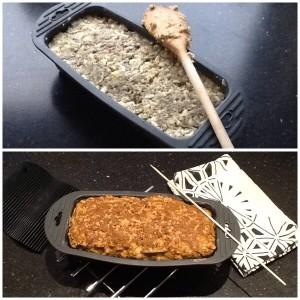Brødet inden det får 40 min. i ovnen. Brødet lige efter 😋