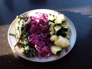 Squash, rød spidskål, og broccoli.