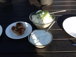 Frikadeller, kartoffelsalat, og tzatziki 😊
