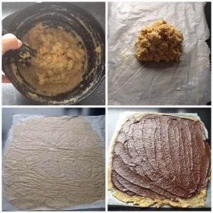 Dejen er rørt sammen og lagt på bagepapir med smør. Nederste billede er den glattet ud med ekstra bagepapir ovenpå og dernæst kanelsnask på 😋