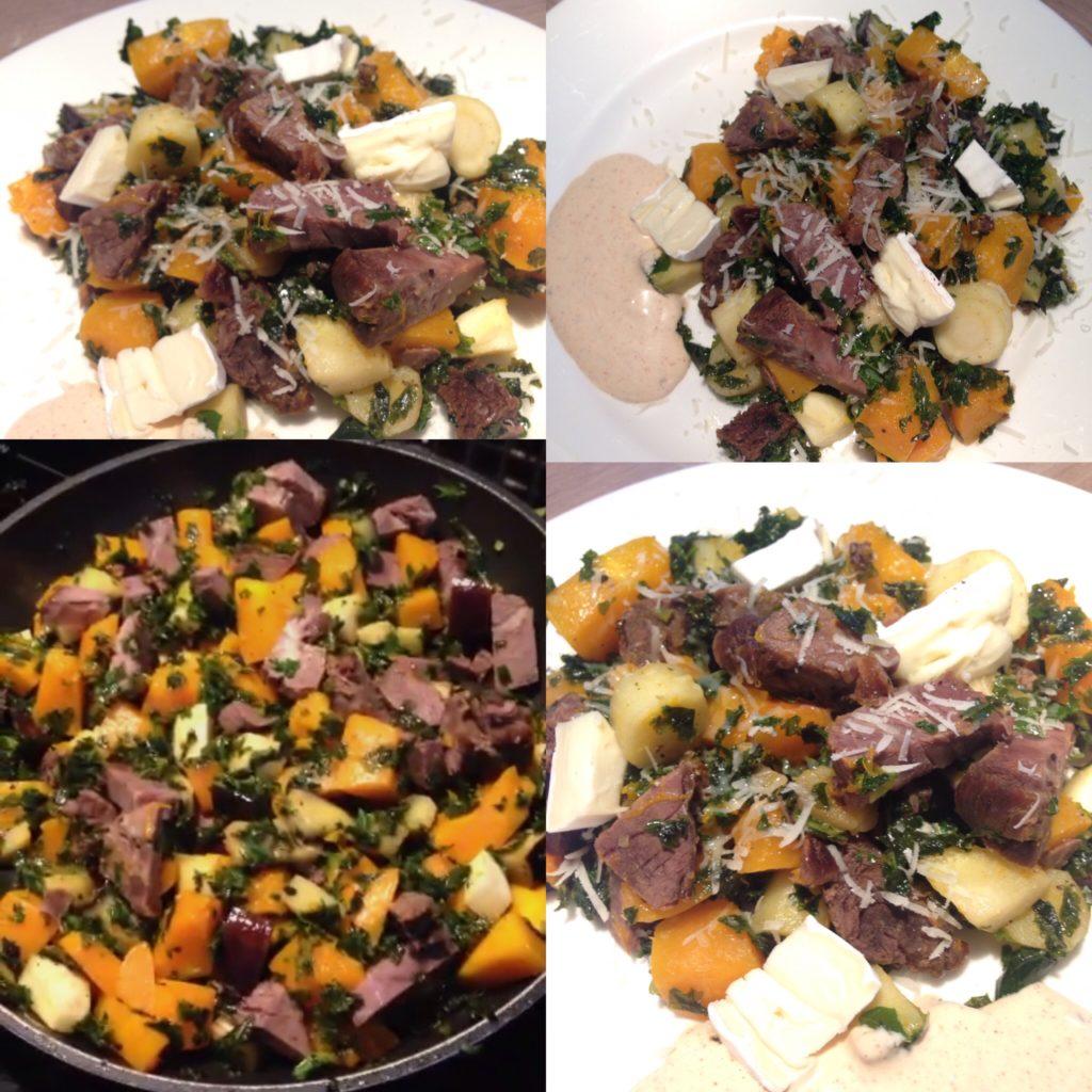 Grønkål, hokkaido, aubergine og pastinak.