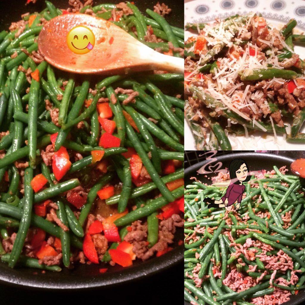 Grønne bønner med oksekød og fyldt med god smag